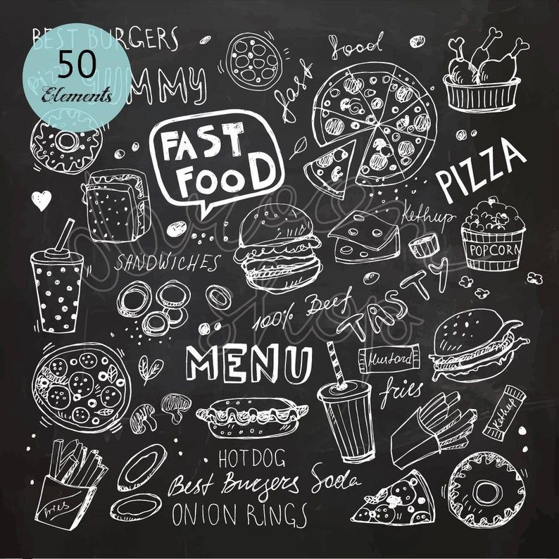 Chalk Hand Drawn Fast Food Clip Art Chalkboard Clipart Doodle Etsy In 2021 How To Draw Hands Hot Dogs Food Clips