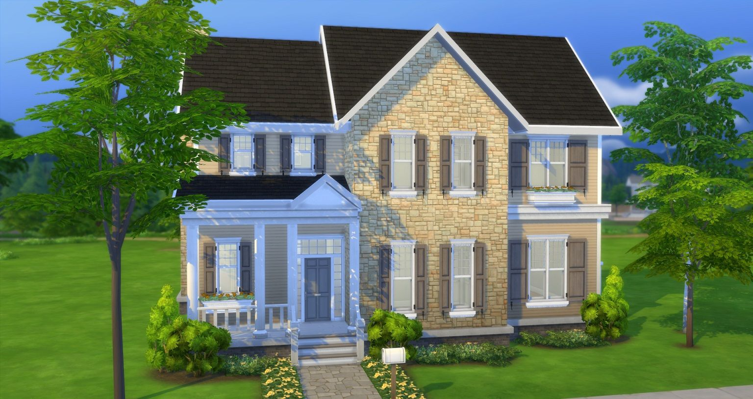Mod The Sims - In-Town Colonial (CC/Base, Move-in