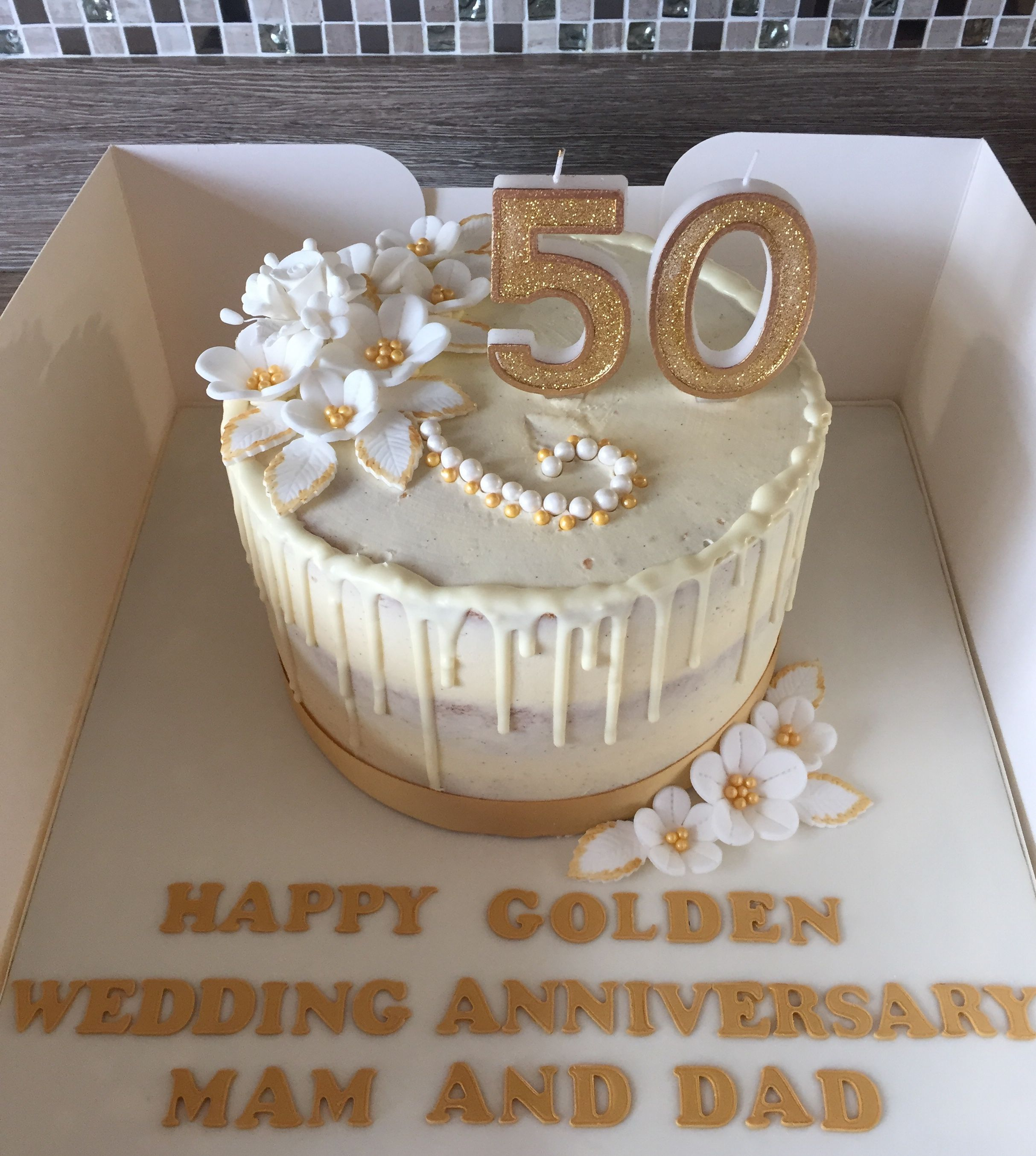 50th Wedding Anniversary Cake By Dawn 50th Anniversary Cakes 50th Wedding Anniversary Cakes Golden Anniversary Cake