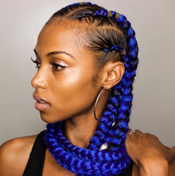 bright blue cornrows braided