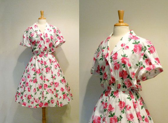 Vintage 1980s Does 1950s Pink Roses Shirtwaist Dress