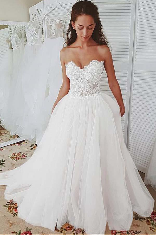 Tulle Sweetheart Neckline A Line Wedding Dresses With Lace Appliques Wd362 Wedding Dresses Sweetheart Neckline Wedding Dresses Lace Wedding Dresses