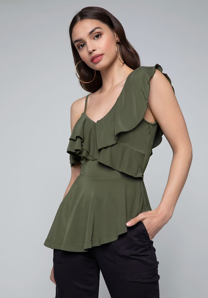 c0f247cf17d2 Bebe Women's Asymmetric Peplum Top, XX Small, Olive green | Products ...