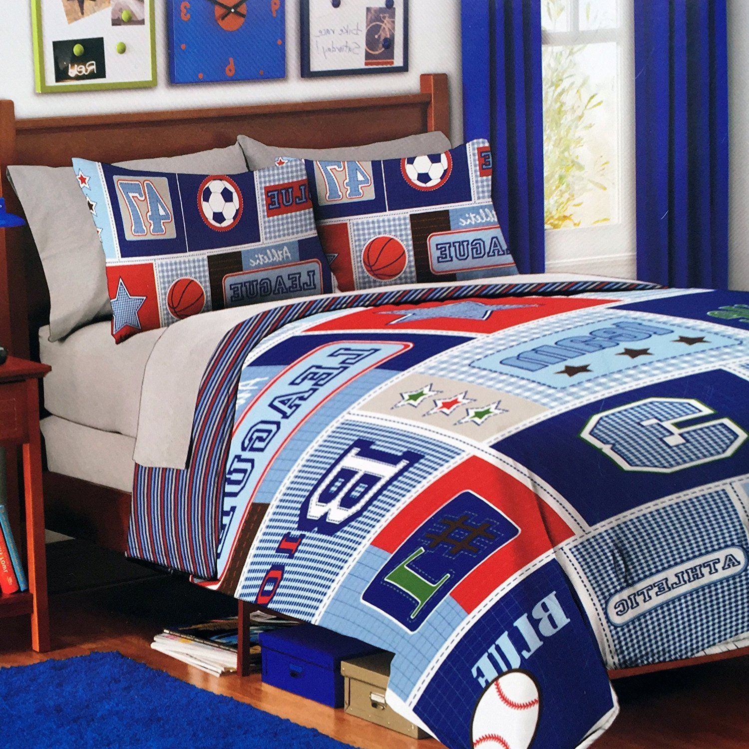 2 Piece Kids Sports Themed Comforter Twin Set All Sports Bedding For Boys Featuring Soccer Baseball Basketball Boys Bedding Sports Bedding Bed Linens Luxury