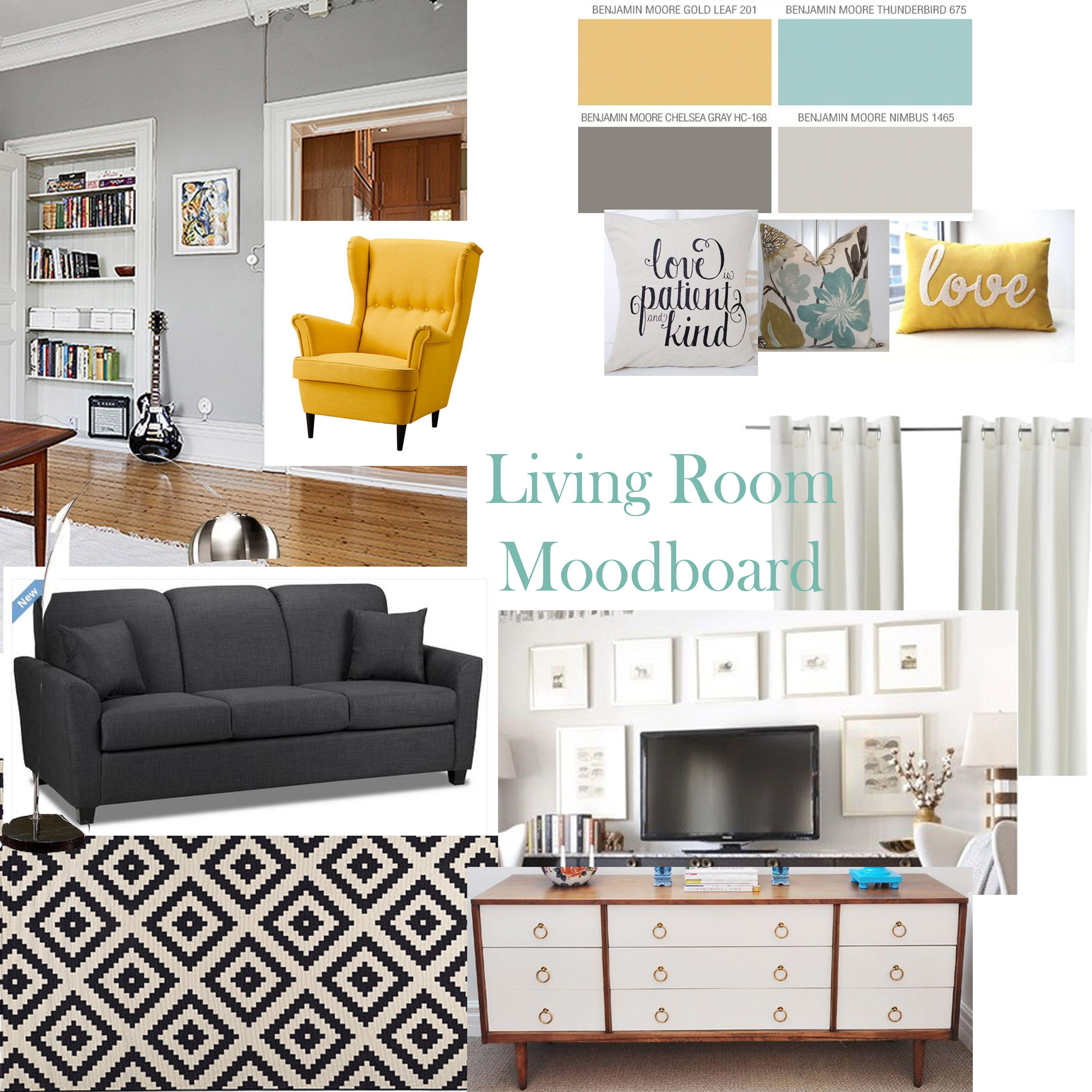 Gray aqua yellow living room, ikea LAPPLJUNG RUTA rug, vintage teak hutch makeover,