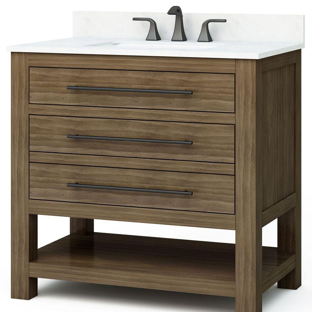 Allen Roth Kennilton 36 In Gray Oak Single Sink Bathroom Vanity With Carrera Single Sink Bathroom Vanity Bathroom Vanities Without Tops Bathroom Sink Vanity