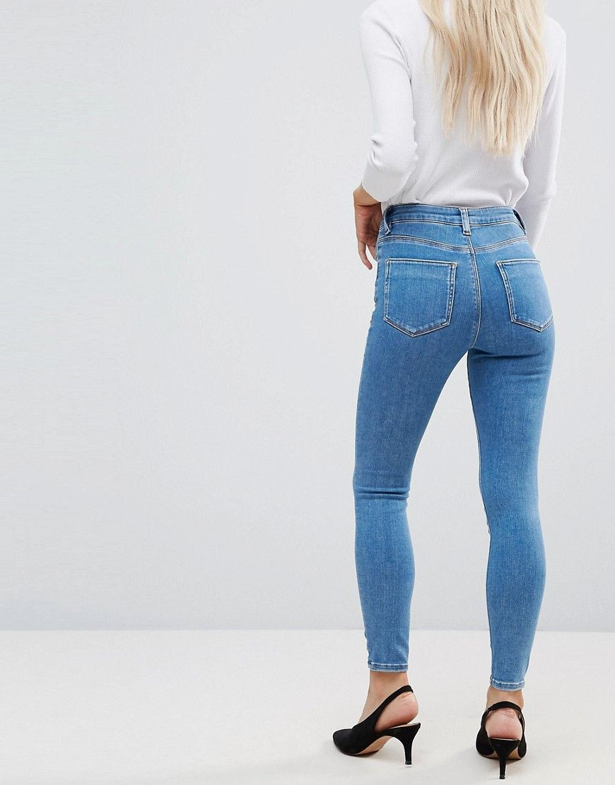 bb1eba4f9d36c ASOS PETITE RIDLEY High Waist Skinny Jeans in Lily Wash - Blue
