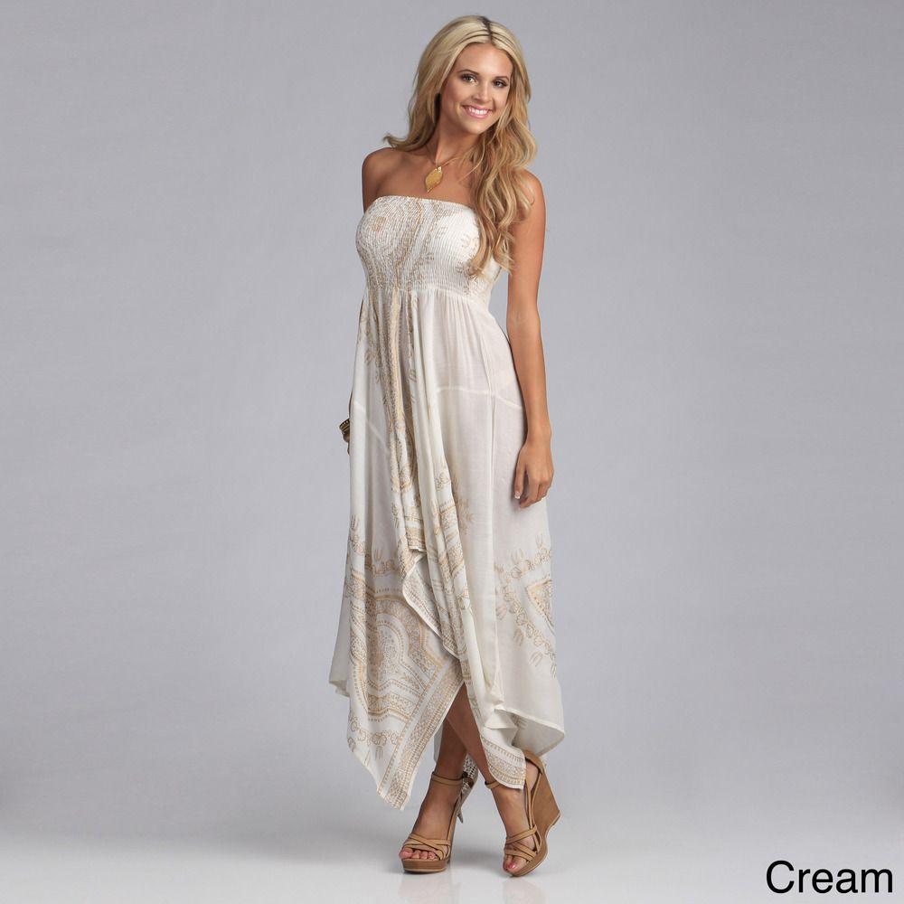 Gold dresses for wedding  Lola P Womenus Gold Print Strapless Hanky Dress  Overstock