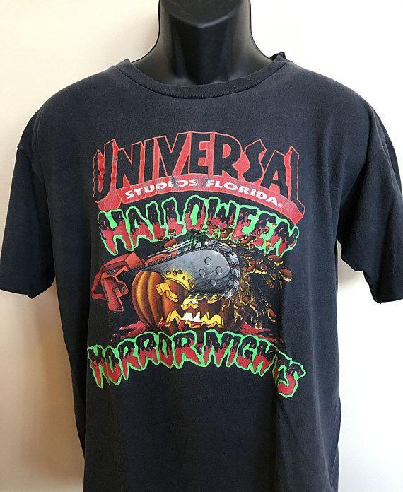 c624161e *SOLD* 90s Universal Studios Halloween Horror Nights Vintage Tee Shirt  Florida Orlando Disney Resort Pumpkin Chainsaw Scary Zombie I Survived