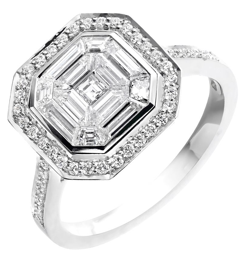Mosaic Ring With Illusion Setting By Diamonds For Today