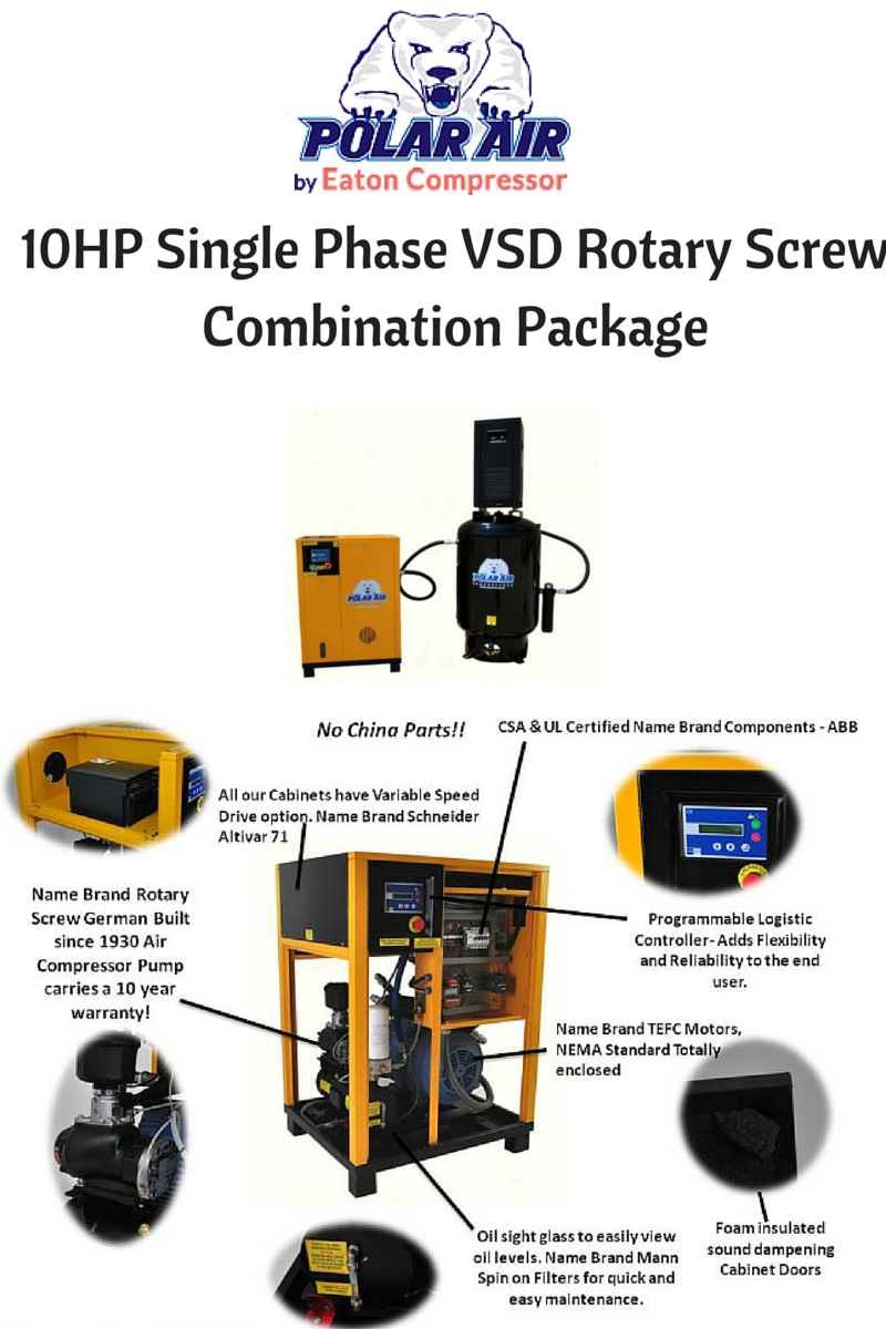 10 Hp Air Compressor With Dryer Package Rotary Screw Single