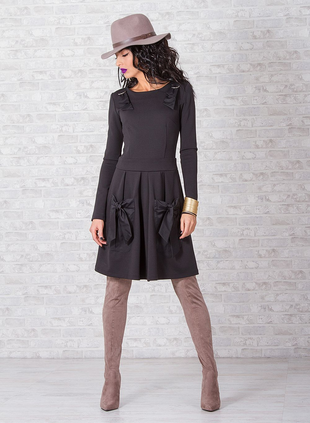 Woman Black Dress Long Sleeve Dress Plus Size Clothing Etsy Womens Black Dress Black Long Sleeve Dress Plus Size Outfits [ 1363 x 1000 Pixel ]