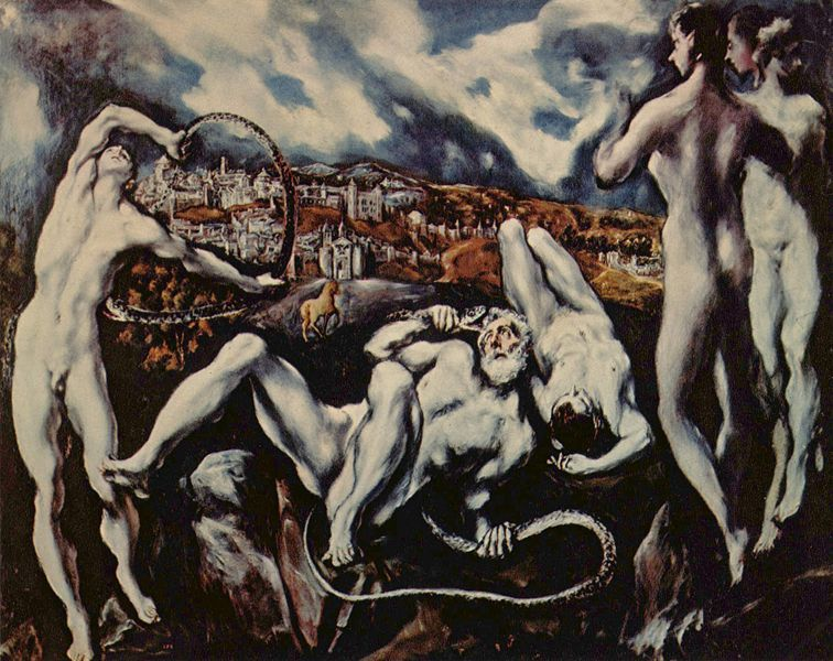 El Greco's candle wax figures have always disturbed me but translated by Burra I'm getting to like them. El Greco-Laocoon 1610-1614
