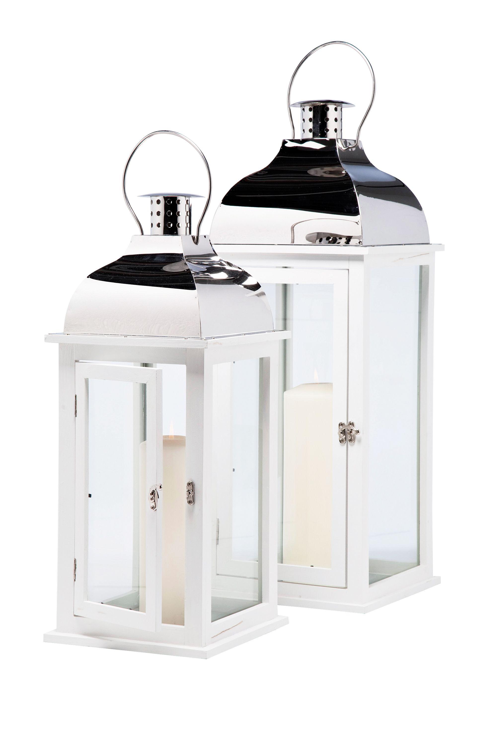 kare design laterne f r garten und wohnzimmer aus lackiertem kiefernholz in edlem wei und. Black Bedroom Furniture Sets. Home Design Ideas
