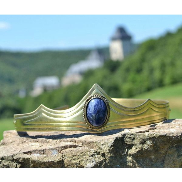 Medieval Brass Crown With a Blue Sodalite Diademe Tiara (240 DKK) ❤ liked on Polyvore featuring accessories, hair accessories, grey, tiara crown, blue tiara, blue crown, crown hair accessories and crown tiara
