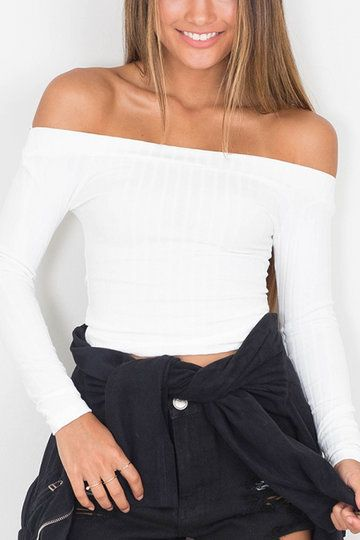 62406ae2a46 White Sexy Off-shoulder Ribbed Body-con Top US$13.95 | Yoins T-shirt ...