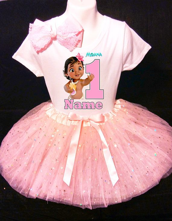 Moana Baby***With NAME*** 1st first 1 Birthday Pink Tutu Dress Fast ...