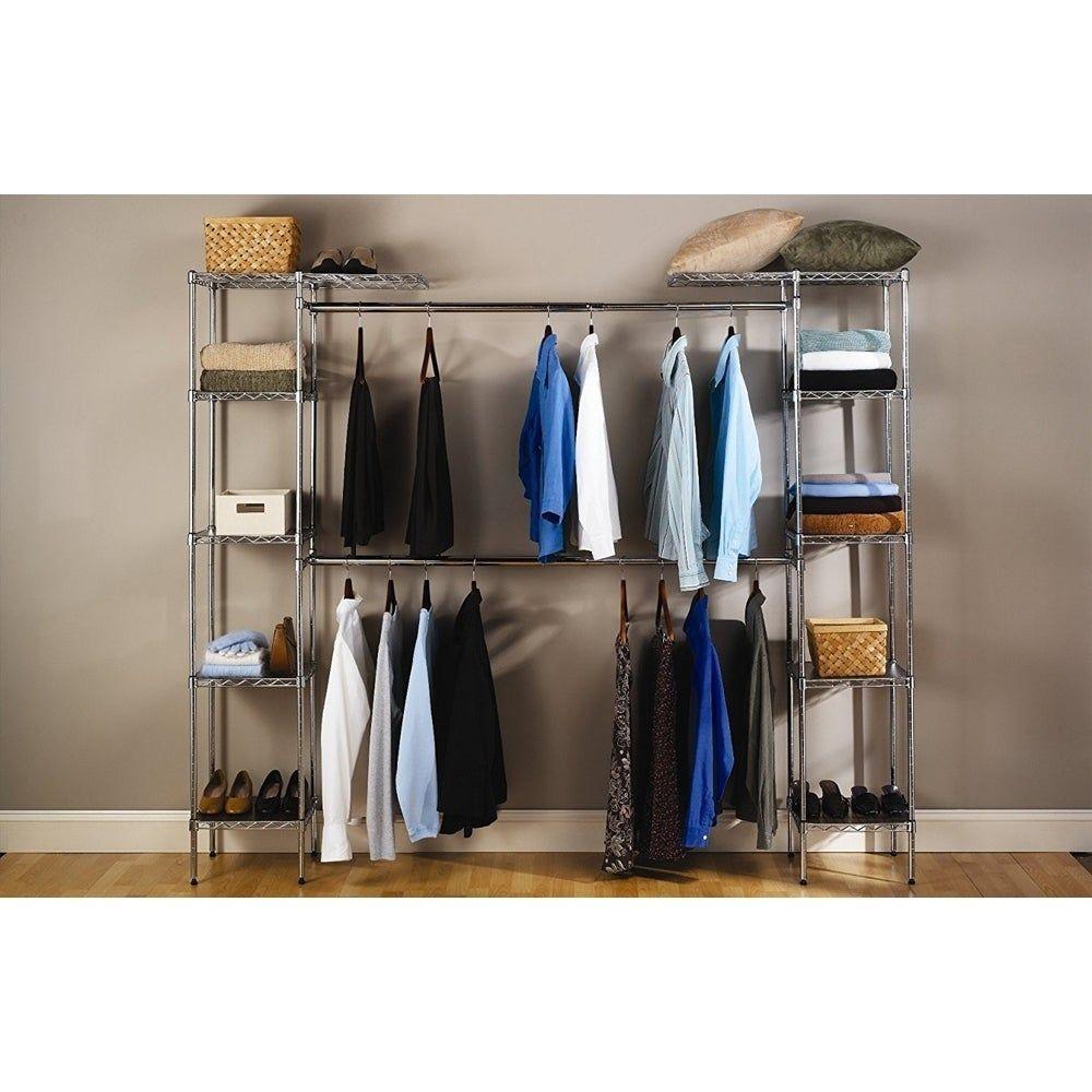Closet Organizer Shelves System Expandable Clothes Storage Metal Rack Silver Closet System Closet Organization Closet Storage