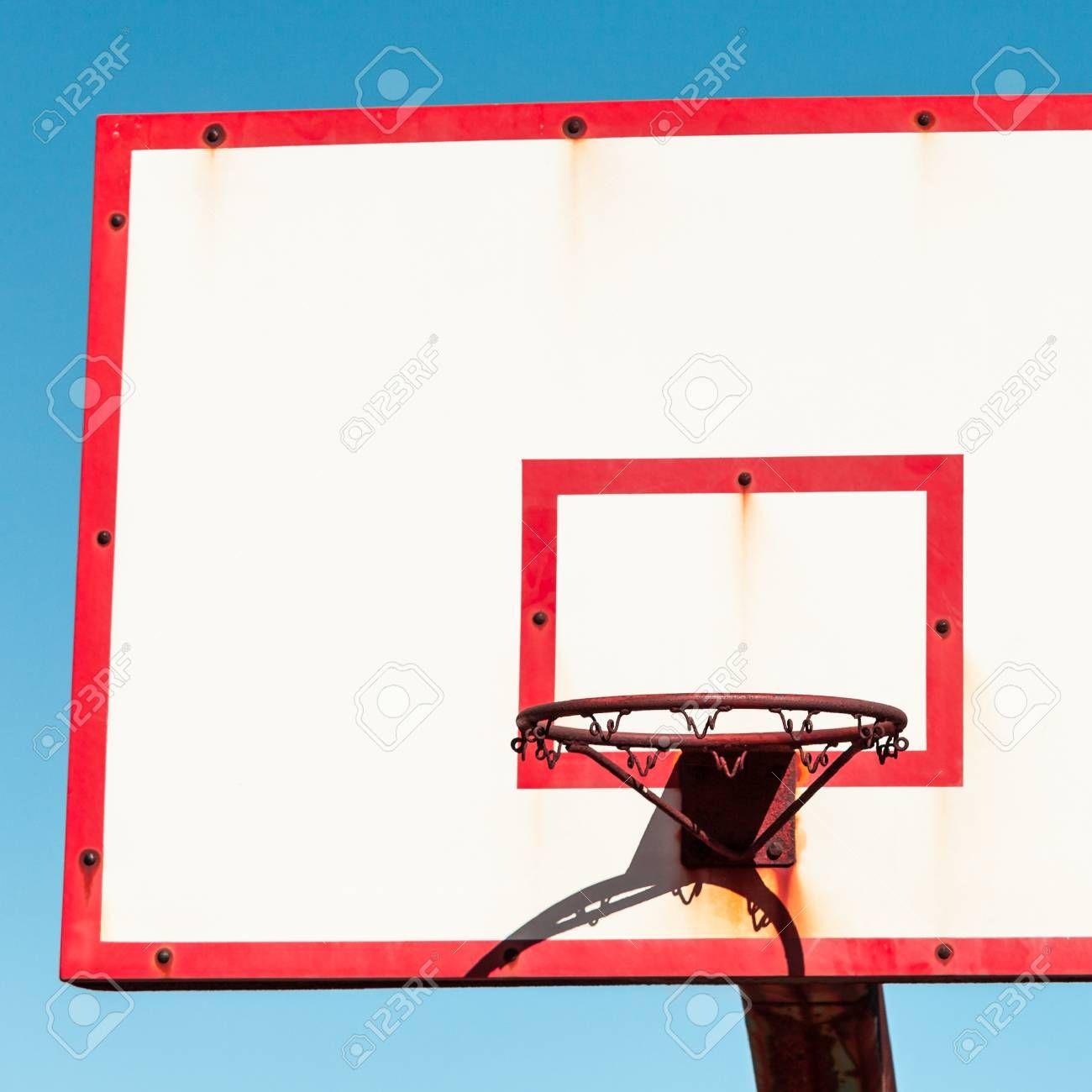 Basketball Board With Basket Hoop Against Blue Sky Sport Recreation Stock Photo Aff Hoop Blue Basket Basketball Board Decor Design Flyer Design