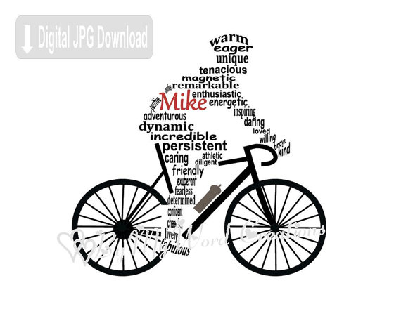 Personalized Cyclist Digital Word Art Bicycle Wall Art