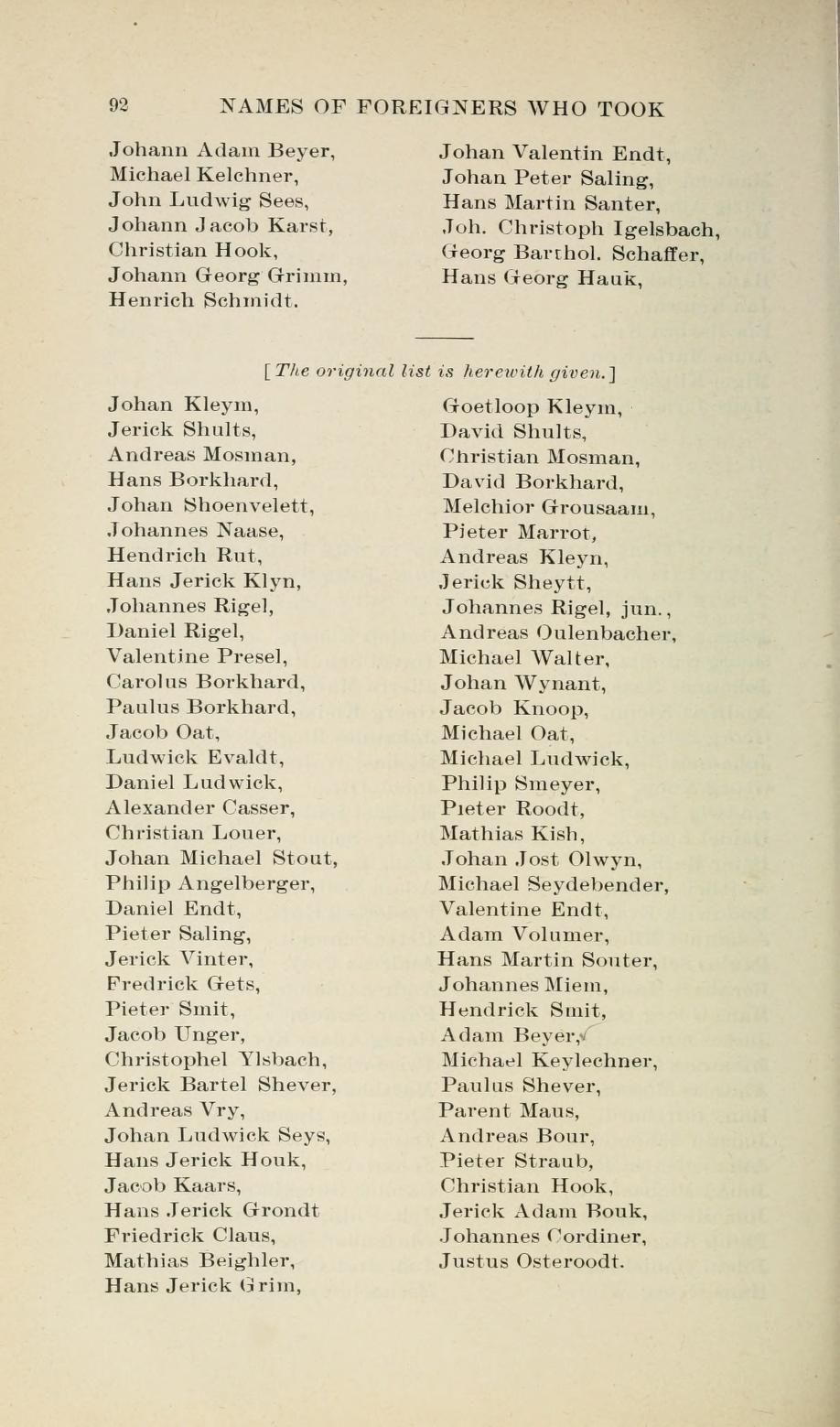 Names Of Foreigners Who Took The Oath Of Allegiance To The Province And State Of Pennsylvania 1727 1775 With The Foreign Arrivals 1786 1808 Egle William H The Borrowers Internet Archive Christian Hook