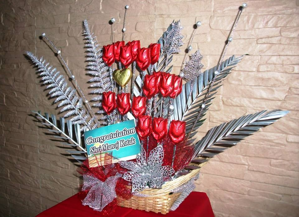 Red And Silver Bouquet For Celebration!