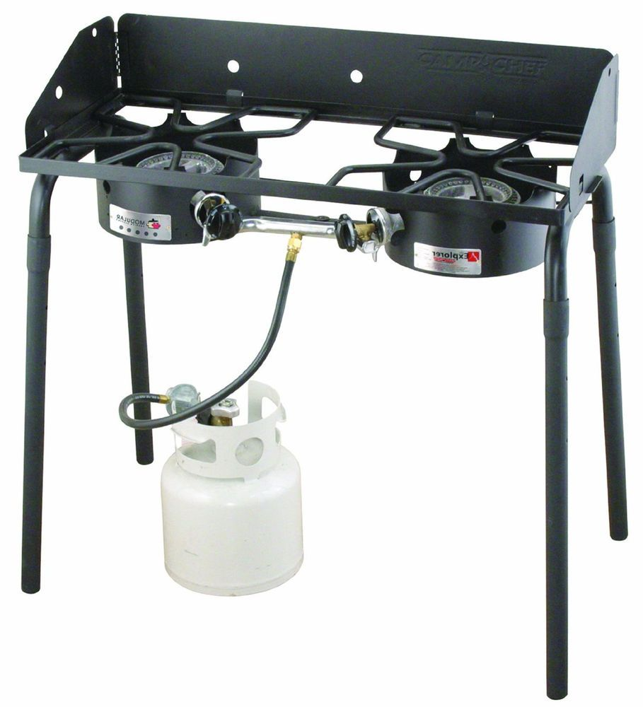 2 Burner Propane Gas Camp Stove Outdoor Patio Burner Portable Camping Stove