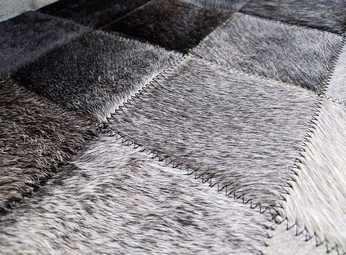 Gradient At Its Best White To Black Patchwork Cowhide Rug In