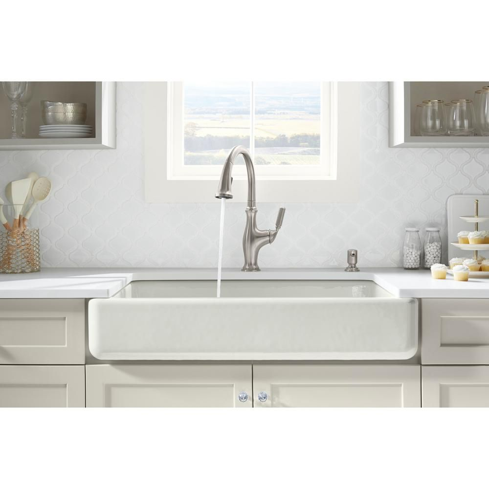 Kohler Whitehaven Farmhouse Undermount Apron Front Cast Iron 36 In Double Bowl With Smart Divide Kitchen Sink In White K 6426 0 White Kitchen Faucet Kitchen Faucet Sink