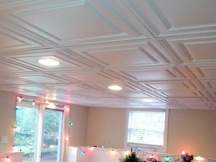 Decorative Drop Ceiling W Recessed Lighting For A Bat