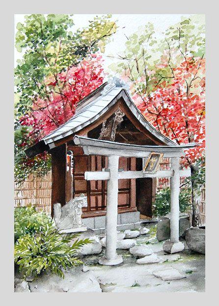 Temple Akihabara Avec Images Aquarelle Japonaise Paysage