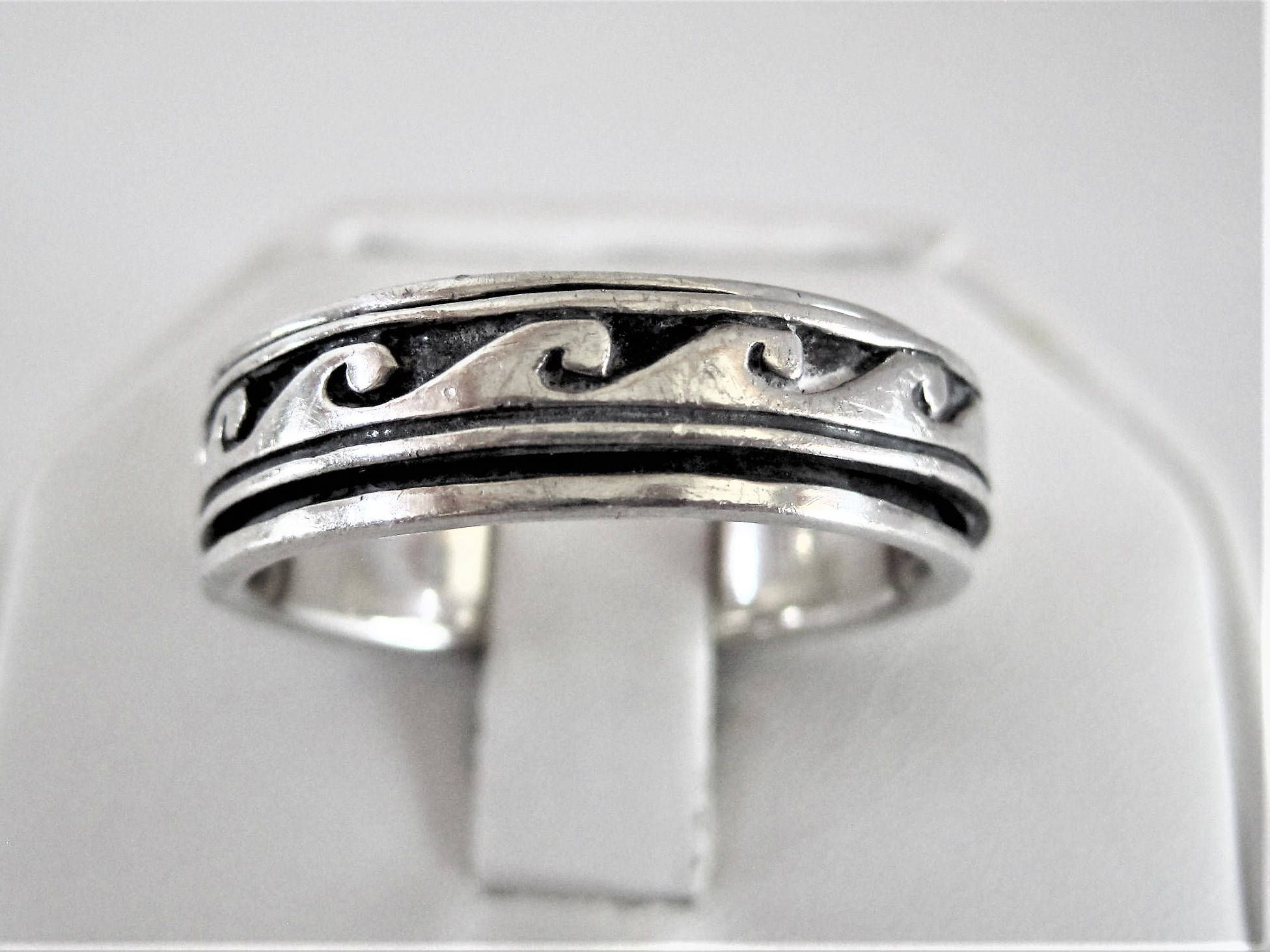 Sterling Silver Band, Men's Eternity Ring, Spinner Ring Size 13