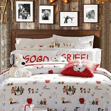 Peanuts(R) Flannel Duvet Cover, Twin, White