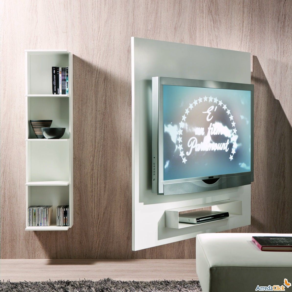 porta tv orientabile a parete con libreria ghost. Black Bedroom Furniture Sets. Home Design Ideas