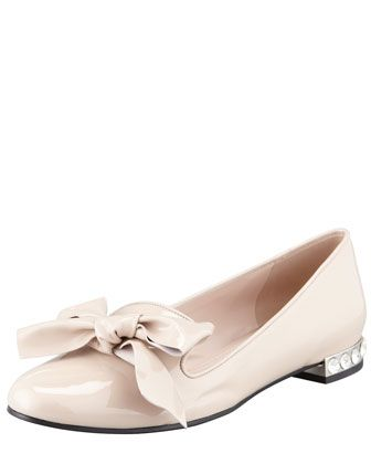 Patent Leather Smoking Slipper with Bow, Natural by Miu Miu at Neiman Marcus.