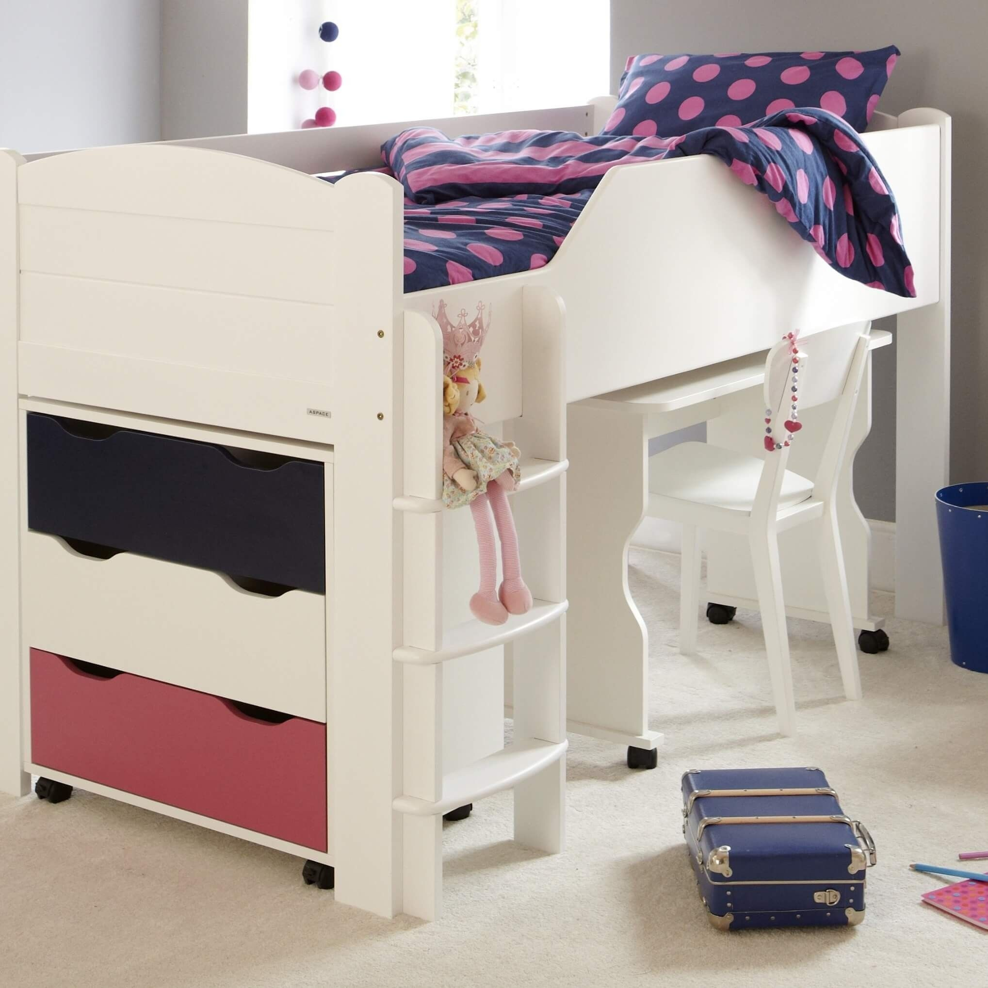 Juicy Fruits Mid Sleeper Bed Left Hand Ladder Silk White In 2020 Mid Sleeper Bed