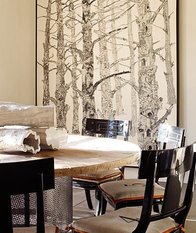 Rustic Dining Room With Oversized Tree Art