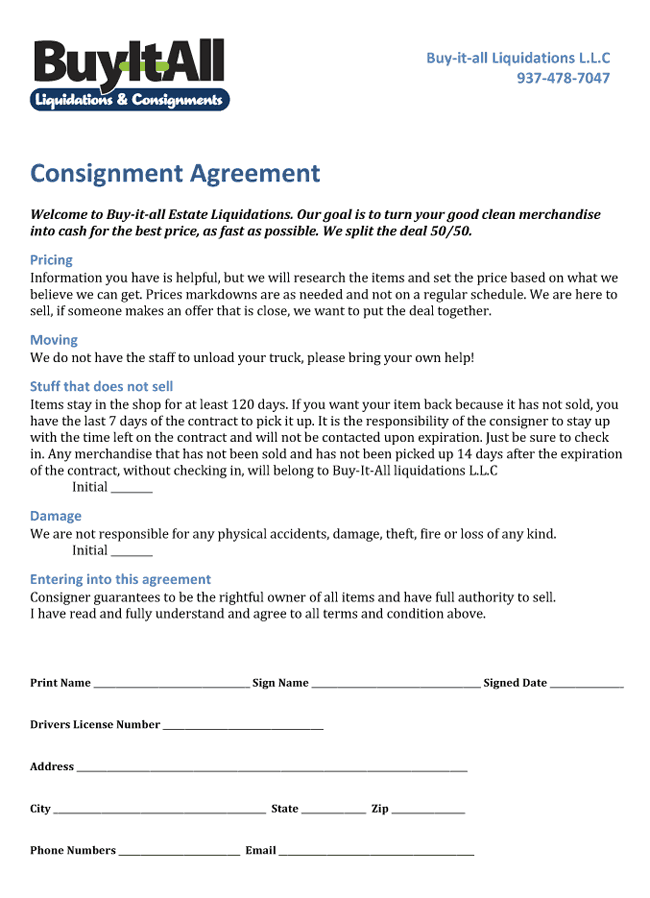 Consignment agreement buy it all consignment forms for Consignment store contract template
