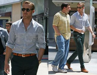 Ryan Gosling wearing White and Navy Vertical Striped Long Sleeve ...