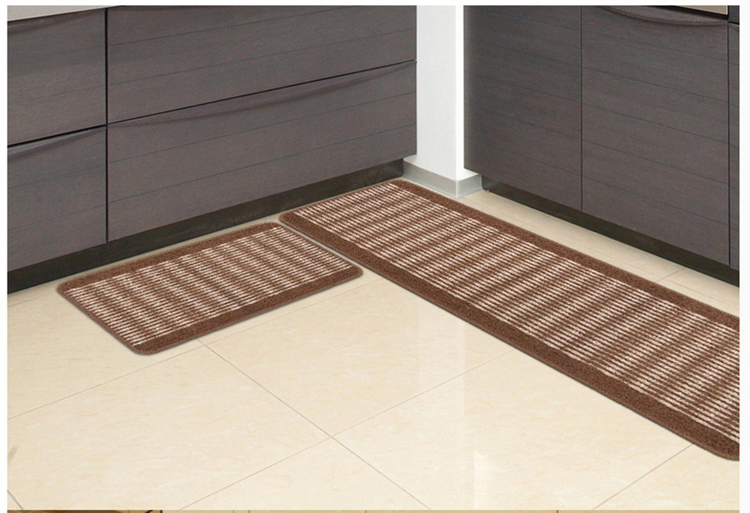Kitchen Floor Runner Oak Table And Chairs Ustide Rug Set Washable Stripe Pattern Rugs Non Slip Bath Mats Water Absorption Toilet