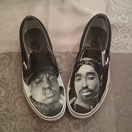 8f8df8d4a9c UK artist Dagmara Cielecka hand painted these Biggie   Tupac Vans slip-ons.  Probably the raddest custom Vans ever