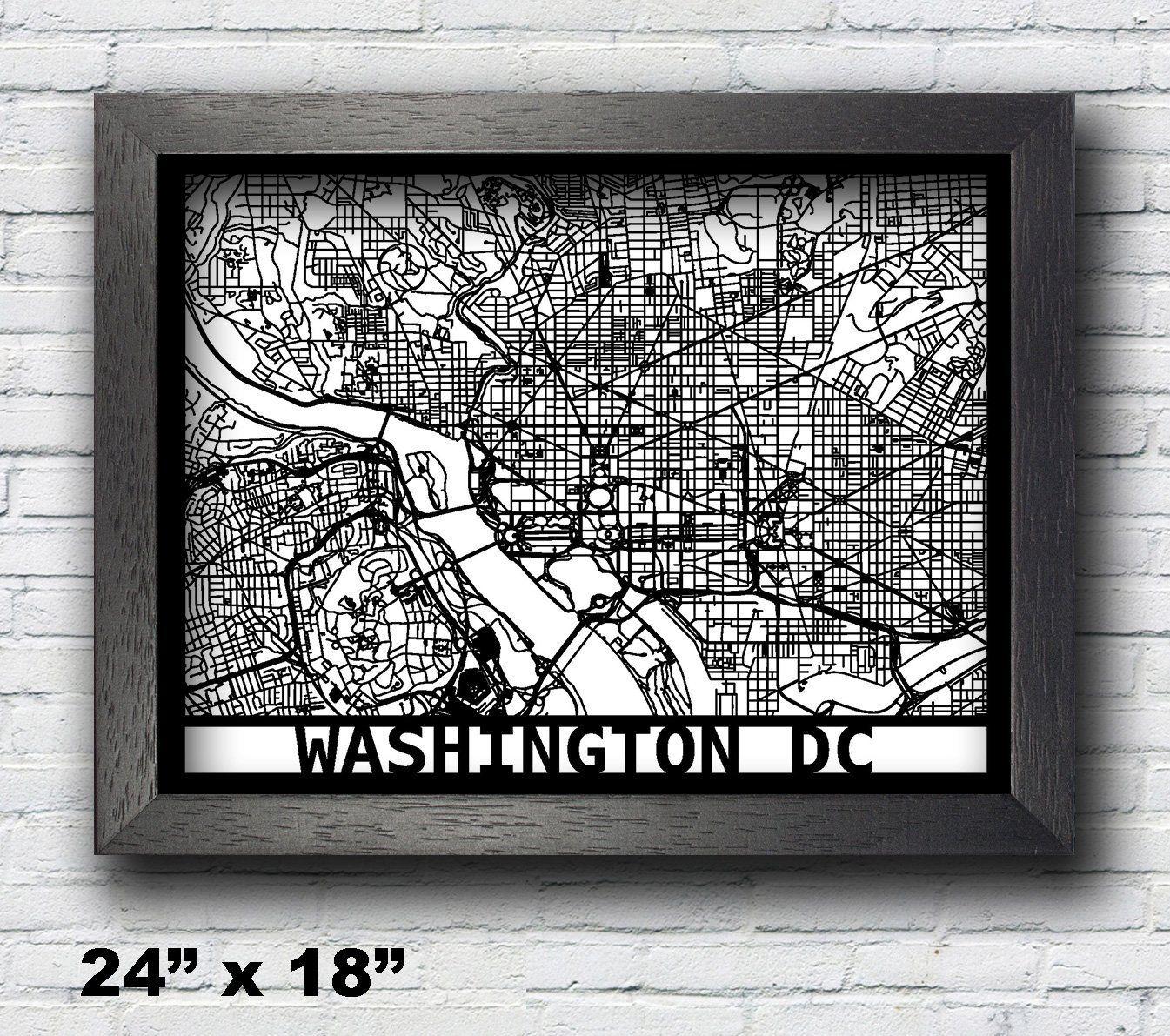 Washington dc laser cut map d street map x map x map