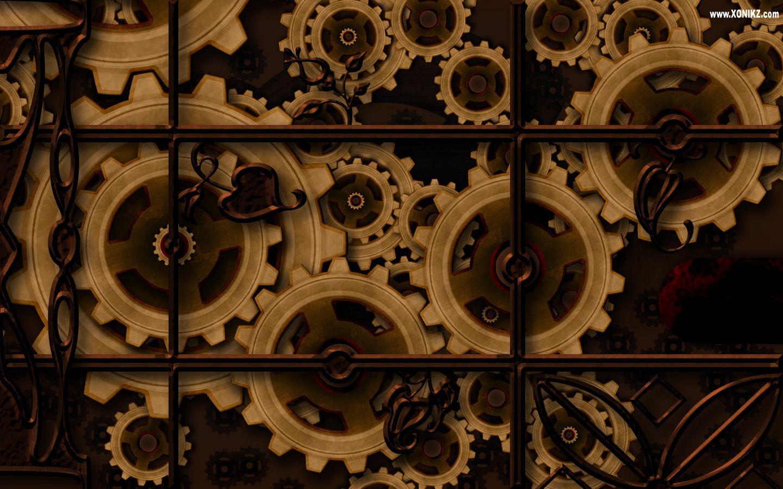 Steampunk Wall Of Gears