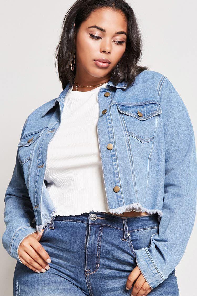 Plus Size Cropped Denim Jacket Denim Crush The April Edit Style Guide Cropped Denim Jacket Cropped Denim Jacket Outfit Best Plus Size Jeans [ 1125 x 750 Pixel ]