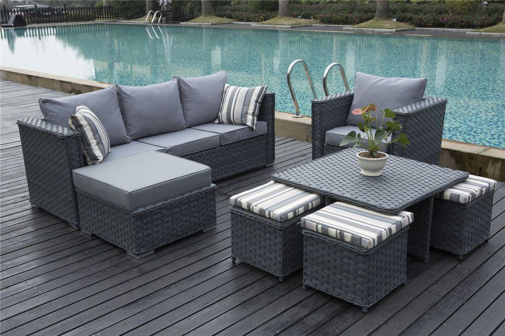 Monaco 9 Seater Rattan Corner Sofa Set Conservatory Garden