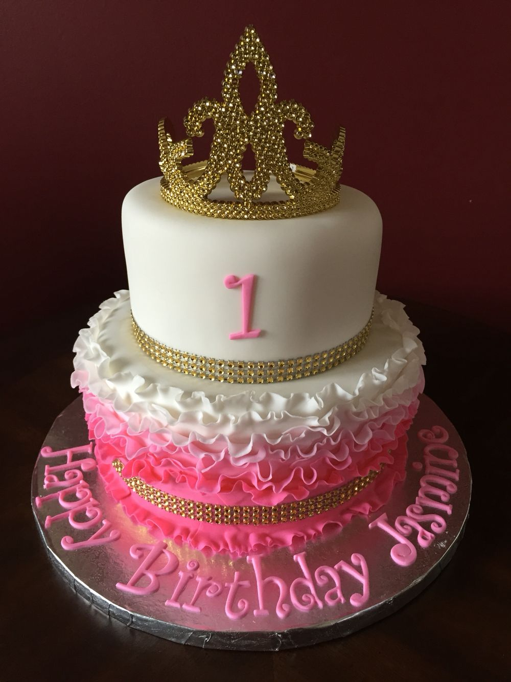 Pink And Gold Princess Tiara Birthday Cake Birthday Cakes