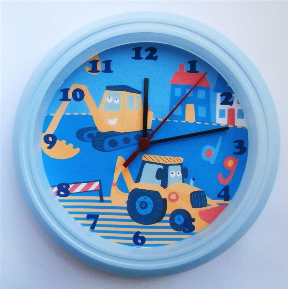 Brand New Kids Wall Clock With Next Little Digger Dig Dig Free Pp