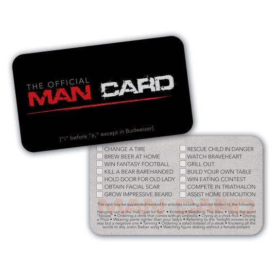 Birthday Gift Ideas For That Special Man In Your Life: PRINTABLE Official Man Card