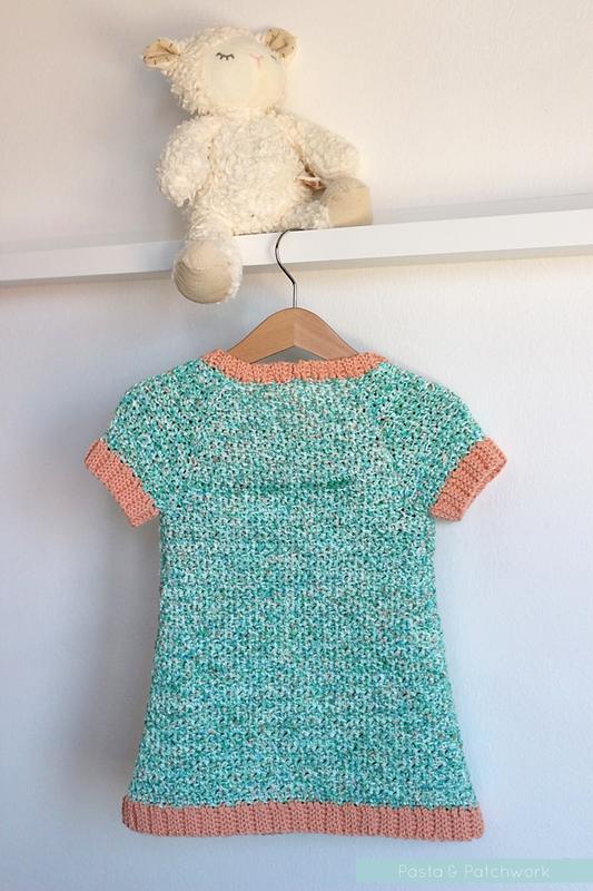 Pretty in Peach Pocket Dress (back) | Free Crochet Pattern ...