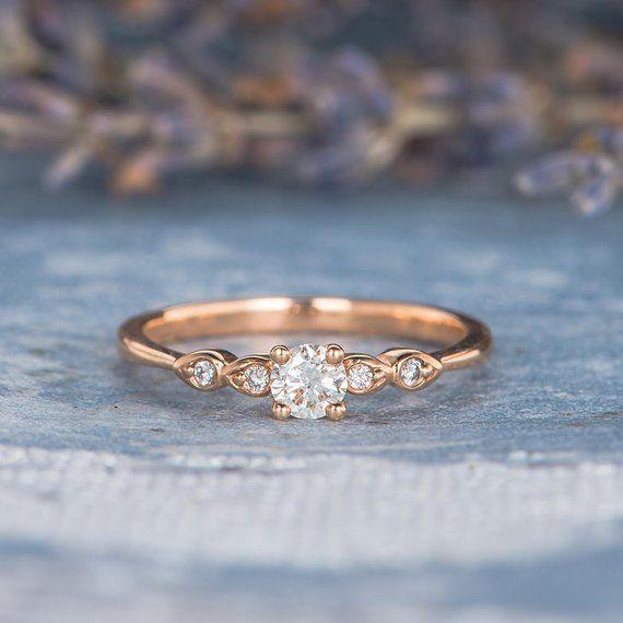 #dekor#decor#housedecor Diamond Engagement Ring Rose Gold Pave Retro Antique Thin Minimalist Anniversary Gift Birthstone Simple Art Deco Stacking Engraving Women
